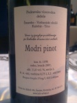 Urbajs Modri Pinot back label