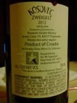 Kosovec zweigelt back label
